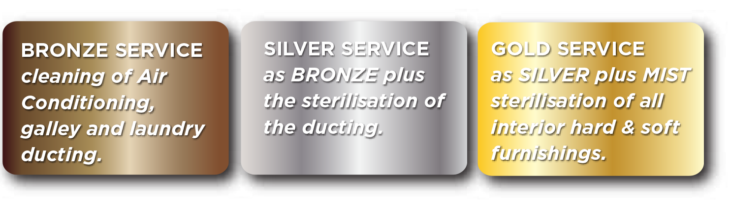 Gold, Silver and Bronze service for yachts